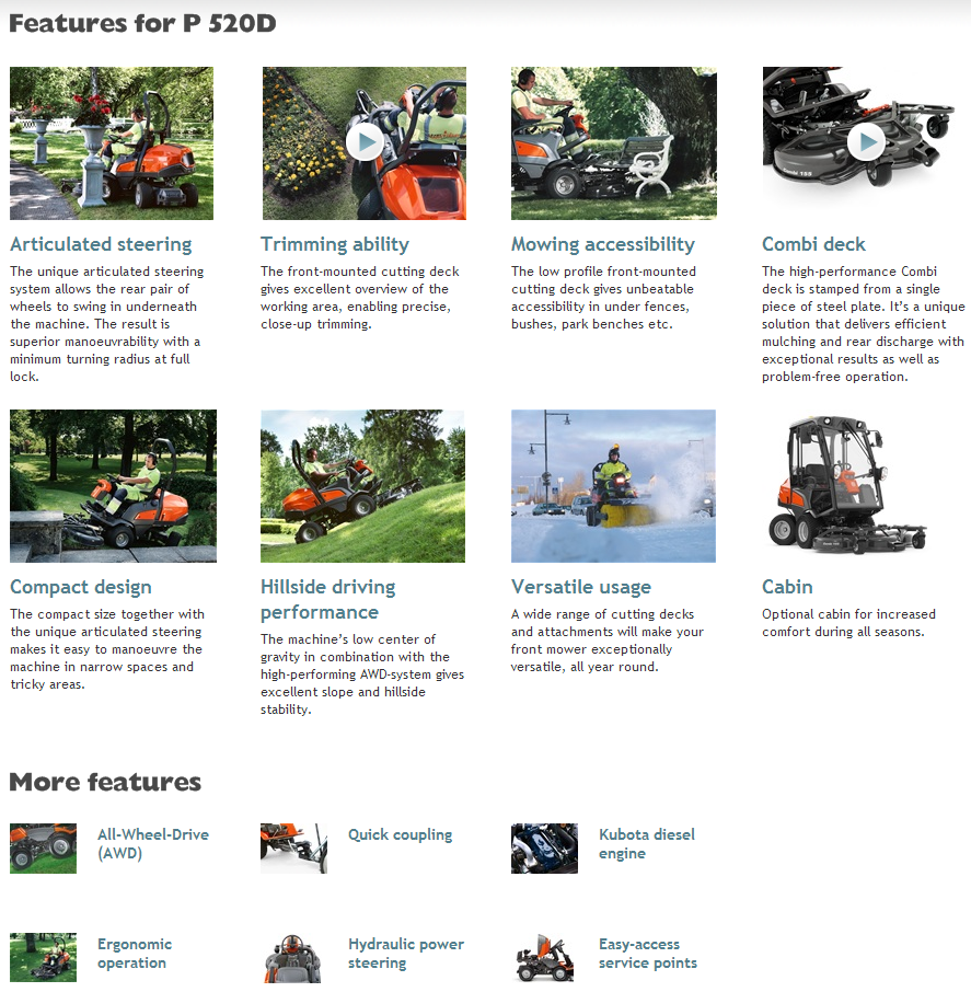 Husqvarna P520D features