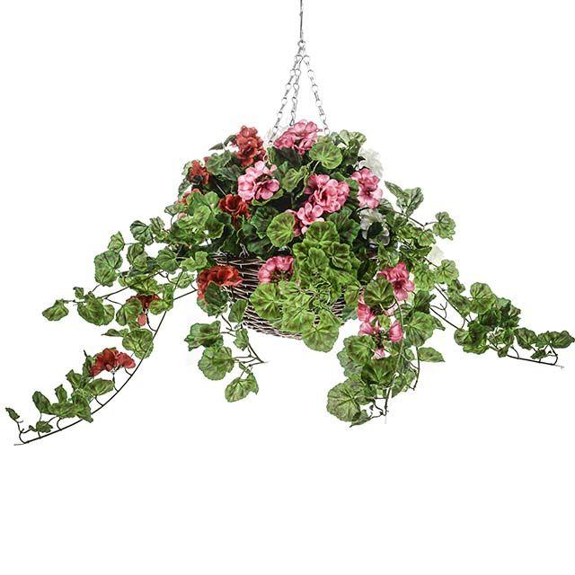 Artificial Hanging Basket Geranium Mixed Artificial