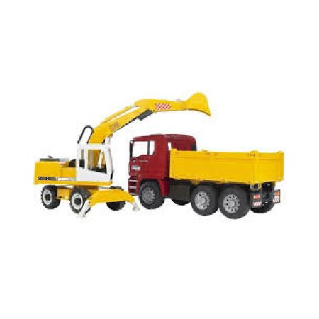 Bruder MAN 02751 Construction Truck and Ecavator Toy
