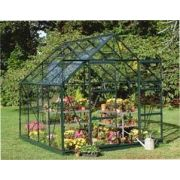Halls Magnum 810 Forest Green Greenhouse 10x8 Horti Glass Short Pane