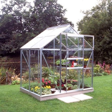 Halls Popular 64 Aluminium Greenhouse 4 x 6 Toughened Glass Long Panes
