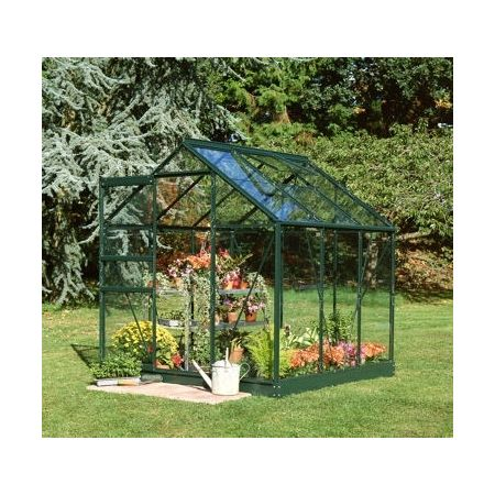 Halls Popular 64 Forest Green Greenhouse 4 x 6 Horti Glass Short Panes
