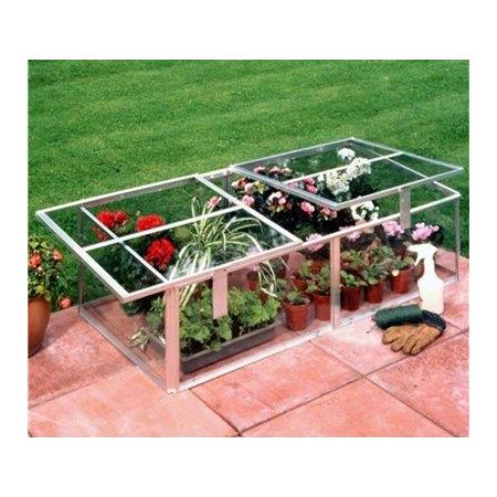 Halls Silver Aluminium Cold Frame 4x2 Horticultural Glass